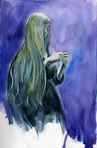 A Lovely Long Haired Lady in Watercolor